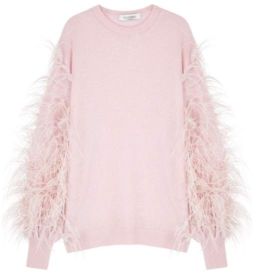 Valentino Pink Feather-embellished Knitted Jumper