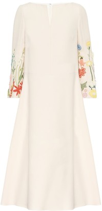 Valentino Embroidered wool-blend midi dress