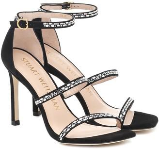 Stuart Weitzman Sabrine 100 embellished suede sandals