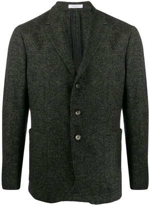 Boglioli herringbone fitted blazer