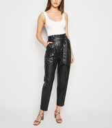 New Look Leather-Look Tie High Waist Trousers