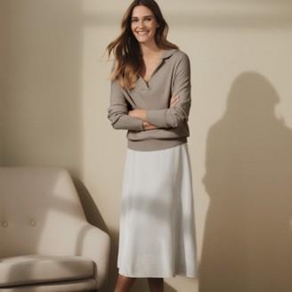 The White Company Silk-Velvet Skirt, Oyster, 12