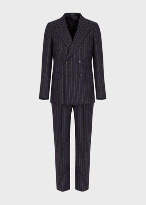 Emporio Armani Slim-Fit Double-Breasted Suit In Striped Virgin Wool