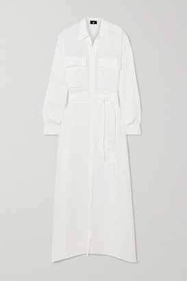 SU PARIS Raya Seersucker Maxi Shirt Dress - White