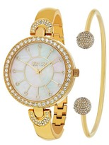 So&Co Women&s Madison Crystal Accented Bracelet Watch & Bracelet Set
