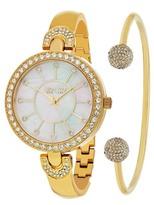 So&Co Women's Madison Crystal Accented Bracelet Watch & Bracelet Set