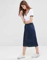 Only Button Through Midi A-line Denim Skirt