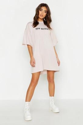 boohoo New Season Embroidered Cotton T Shirt Dress