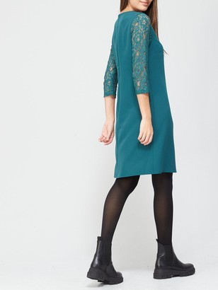 Very V Neck Lace Sleeve Dress - Green