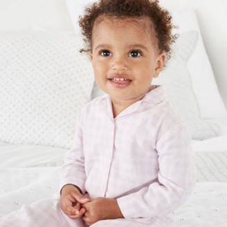 The White Company Gingham Sleepsuit with Toy, Pink, 18-24mths