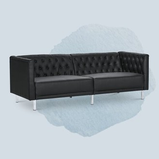 "Latitude Run Brandea 80.5"" Wide Faux Leather Round Arm Chesterfield Sofa"