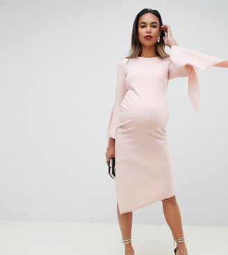 ASOS DESIGN Maternity bodycon midi dress with flute sleeve