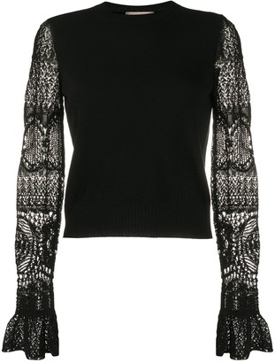 Alexander McQueen lace sleeves crewneck jumper