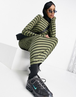 ASOS DESIGN long sleeve maxi T-shirt dress in khaki and black stripe