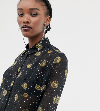Reclaimed Vintage inspired sheer shirt in coin print-Black