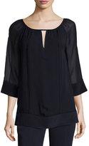 St. John Lace-Trim 3/4-Sleeve Silk Blouse, Navy