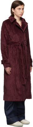 VVB Burgundy Velvet Belt Cord Coat