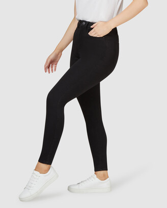 Jeanswest Women's High-Waisted - Freeform 360 Contour Curve Embracer High Waisted Skinny 7-8 Jeans Black - Size One Size, 10 Regular at The Iconic