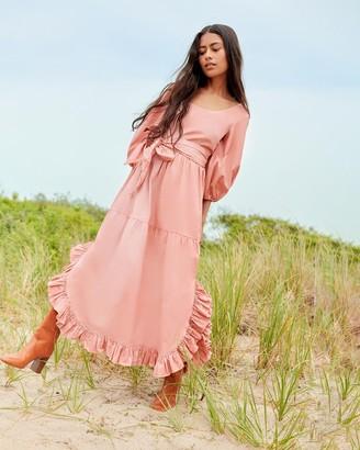 Loeffler Randall Enid Puff Sleeve Ruffle Dress Blush