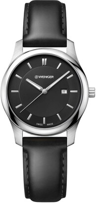 Wenger Men's City Classic Stainless Steel Swiss-Quartz Watch with Leather Calfskin Strap