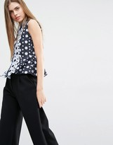 Paul Smith Polka Dot Peplum Sleeveless Shirt