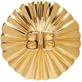 Balenciaga Gold Round Logo Clip-On Earring