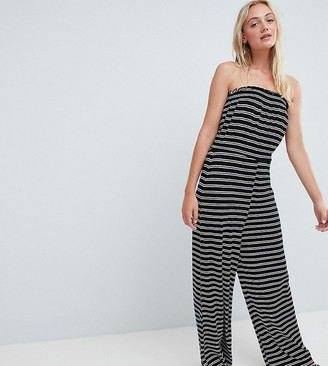 ASOS DESIGN Tall bandeau jersey jumpsuit with wide leg in stripe print