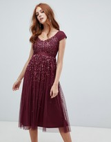 Amelia Rose embellished ombre sequin midi dress with cami strap in berry