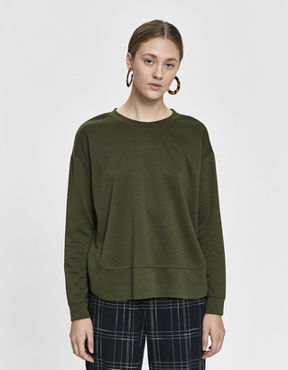 Which We Want Women's Megane Tulip Hem Sweatshirt in Olive, Size Small