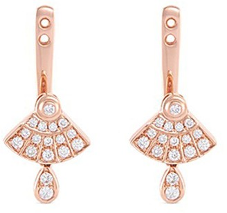 Lc Collection Jewellery 'Art Deco' diamond 18k rose gold earring jackets