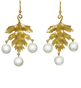 Cathy Waterman Large Leaf with Akoya Pearl Drop Earrings - Yellow Gold