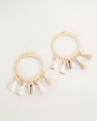 Chico's Goldtone Tassel and Shell Drop-Hoop Earrings