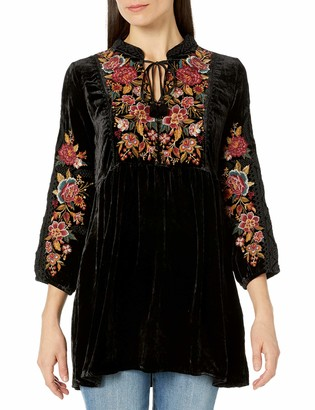 JWLA By Johnny Was Women's Long Sleeve Velvet Tunic with Floral Embroidery