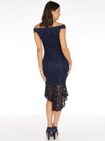 Quiz Lace Bardot Frill Hem Midi Dress - Blue