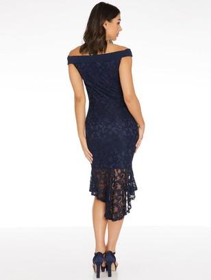 Quiz Lace Bardot Frill Hem Midi Dress - Blue