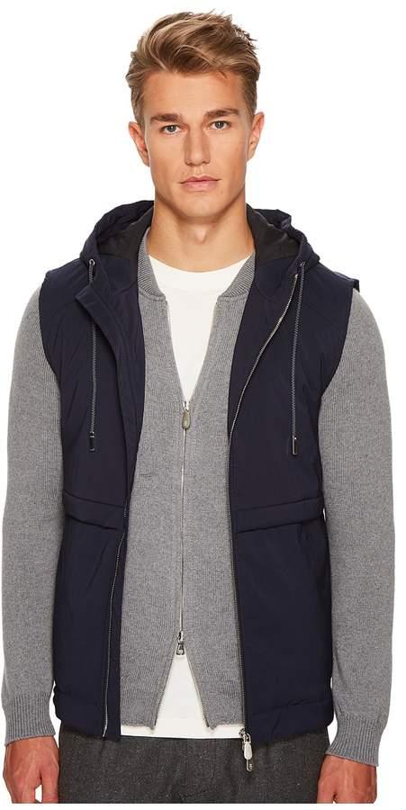 Eleventy Wool Flannel Hooded Vest Men's Vest