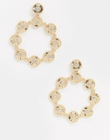 Asos Design DESIGN earrings with crystal studded circle drop in gold tone