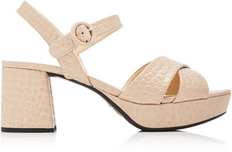 Prada Croc-Embossed Chunky Leather Sandals