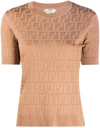 Fendi FF motif short-sleeved knitted top