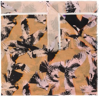 Lala Berlin Bird-Print Cashmere Scarf