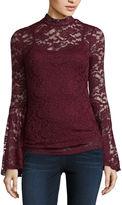 Almost Famous Long Sleeve Mock Neck Lace Blouse-Juniors