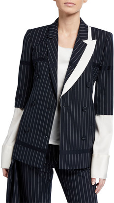 Hellessy Santos Asymmetric Pinstriped Double-Breasted Blazer Jacket with Removable Sleeves
