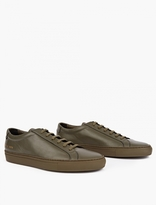 Common Projects Army Green Leather Achilles Sneakers