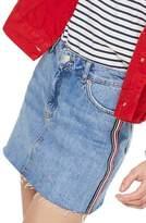 Topshop Diamante Stripe Denim Skirt