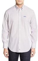Thomas Dean Men's 'Ole Miss Rebels' Regular Fit Long Sleeve Tattersall Sport Shirt