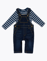 Marks and Spencer 2 Piece Denim Dungarees & Bodysuit Outfit
