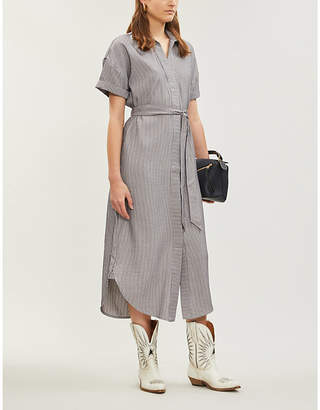 Papi IBEN striped waist-tie woven dress