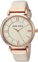 Anne Klein Women's Quartz Metal and Leather Dress Watch, Color:White (Model: AK/2666RGIV)