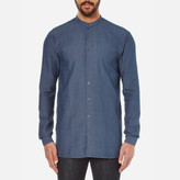 HUGO Men's Eddison Long Fit Grandad Collar Shirt Navy