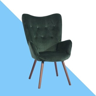 """Channel Courtright 26.2"""" Armchair Hashtag Home Fabric: Green Velvet"""